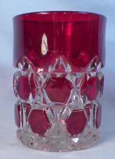 Loop & Block Tumbler Ruby Stain Early American Pattern Glass Pioneer Antique