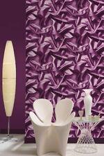 2 Rolls Muriva Bluff Purple 3d Gathered Effect Crushed Silk Wallpaper - X99