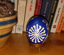 Pysanka Ukrainian real chicken Easter egg handmade vintage with stand or nest