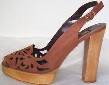 BIBA Brown Suede Laser Cut Platform Slingback Sandals Shoes 41 11