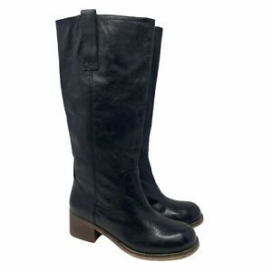 Steve Madden Women's 9 Foreway Riding Boots NWOB Black Leather Equestrian Knee