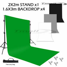 3M Photography Black White Green Screen Background Stand Kit+Grey Backdrop=FREE