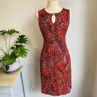 Nine West Size M Sheath Dress Clementine Combo Keyhole Neckline Red Black Snake
