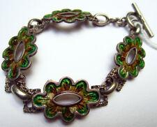 Beau Bracelet en argent émaillé motif fleur Inde du Nord