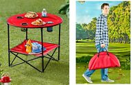 Camping Table Folding Portable Cupholders Carry Bag Picnics Beach Table Fold Up