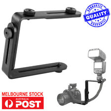 L-Shaped Metal Dual Flash Bracket Holder Mount for Canon DSLR Camera Speedlite