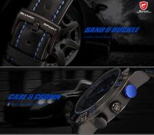 SHARK Men's 50mm Blue LED Digital / Analog Quartz Date Blue Leather Wristwatch