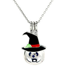 K997 Enamel Halloween Pumpkin Pearl Beads Cage Locket Pendant Necklace Chain