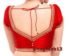 Indian Sari Blouse,Readymade Saree Blouse,Designer Red Kundan work Sari Top