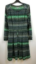Laura Ashley Ladies Dress Long Sleeve Button-up Neckline Green Patterned Size 8