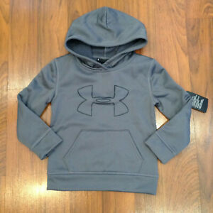 Under Armour Youth Boys Fleece Hoodie Shirt Gray Size 5, 6 New