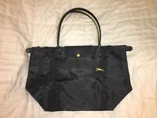 "LONGCHAMP Bag LE CLUB PLIAGE Limited Ed ""FUSIL"" GUNMETAL Large Long Handle PARIS"