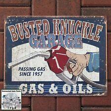 Busted Knuckle Garage Gas & Oil Tin Sign Gas Station Garage Shop Man Cave S-1738
