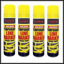 4 x Yellow Temp Line Marking Spray 300m Fast Drying Paint Road Marker Construct