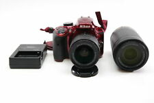 Nikon D3400 DSLR Camera 24.2 MP Maroon with 18-55 & 70-300mm Lenses and Charger