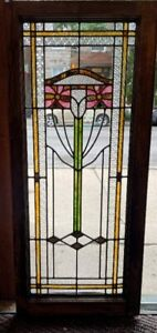 """Antique Chicago Stained Leaded Glass Window / Door 44"""" x 19"""" Circa 1915"""