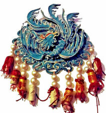 Antique Chinese Kingfisher Blue Silk Qing Opera Theater Phoenix Medallion BIG