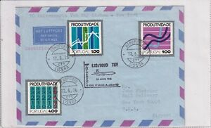 Portugal 1196-98 LUFTPOST AIRMAIL FLUGZEUG AIRPLANE BRIEF COVER 1976 USA  LABEL