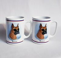 Set Of 2 Boxer Dog Coffee Mugs Cups Animal Lover White Brown Dogs Boxers Ceramic