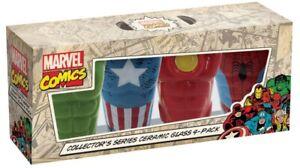 Icup Marvel Comics Ceramic Glass Hulk Spider-Man Iron Man Captain America 4 Pack