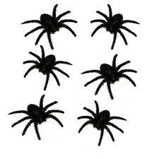 Set/6 Haunted House Creepy Black Furry Spiders Halloween Home Prop Decoration