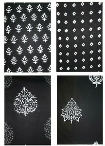 100% Cotton Traditional Indian Hand Block Printed Dress Material Craft Fabric