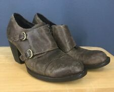 Born Davis Womens Taupe Oiled Suede Brown Double Monk Strap Ankle Boots 8.5