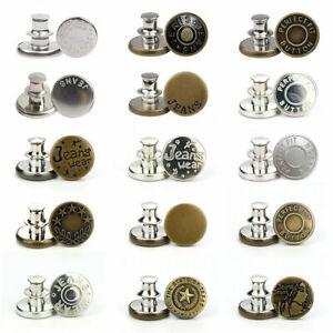 Button Pins for Jeans Adjustable Jean Button No Sew Instant Pants Button 15 PCS