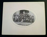 """Turn of the Century Photo of primary school  9""""x7"""" card with 4.75"""" x 3.25"""" oval"""