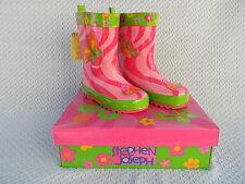 Stephen Joseph Girls BUTTERFLY RAIN BOOT Slip-On Galoshes 8 US 25 EU Age 2-4 NWT