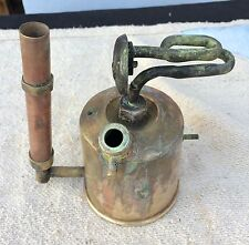 ANTIQUE BRASS GOLD SMITH's BLOWTORCH WITH COPPER HANDLE