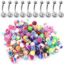 60 Lot Belly Button Rings Barbell Navel Surgical Steel Mix Body Piercing Pack