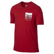 Nike Mens Premier Roger Federer RF V-Neck T-Shirt 100% Cotton Red 739477 657 M