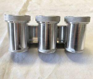 """AN-4 (4AN 7/16""""x20) FEMALE Triple Aluminum Brake / Clutch Fluid Reservoir Tank"""
