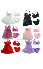 Dolls Clothing Barbie Lingerie Bra Knickers 4 Piece Set Camisoles In White Lace