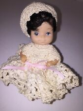 Vintage Rubber & Plastic Doll 4� Knitted Dress And Bonnet Mini Baby Collectors