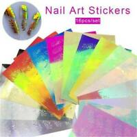 16Pcs/set Holographic Leaf Foils Adhesive Stickers Manicure Nail Art Stickers