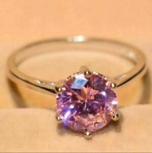 2Ct Round Cut Pink Diamond Solitaire Engagement Ring Solid 14K White Gold Finish