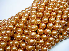 "Soft Gold 8mm Glass Pearls beads WOW 30"" strand"