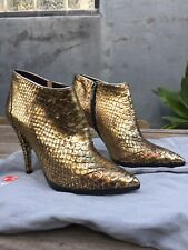 Ballin Boots Ankle Booties Gold Genuine Snakeskin 37