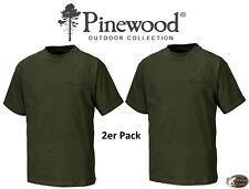 Pinewood 9447 T-Shirt 2-er Pack Shirt Angelshirt Jagdshirt Grün Gr. S - XXL