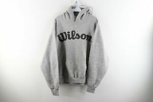 Vintage 90s Wilson Mens XL Distressed Big Logo Spell Out Hoodie Heather Gray USA