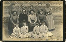 GROUP OF WOMEN, GIRLS WEARING MATCHING DRESSES, ORPHANAGE? ANTIQUE CABINET PHOTO