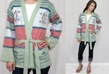 Vintage 70s Pastel Space Dyed Southwestern Bell Slv Retro Wrap Sweater Jacket~Sm