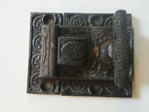 Antique Eastlake Victorian Cast Iron Cupboard Latch Lock with Keeper T Handle