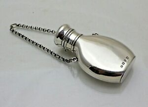 Antique Victorian Sterling Solid Silver Perfume Scent Bottle Flask (1957/9/GNY
