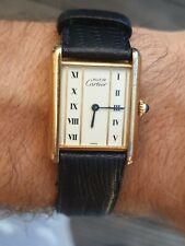 Vintage Must De Cartier Vermeil SERBATOIO mano ascensore 26.5mm dorato Art Deco