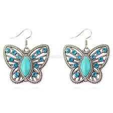 Fashion Women's Turquoise Butterfly Tibetan Silver Hook Earrings Jewelry Gift