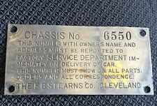 VTG F.B. Stearns Co. Identification Plate Chassis No 6550 Horseless Carriage