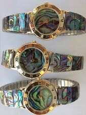 ladies Genuine ABALONE SHELL STRETCH BAND Watch with abalone Face-Brand New-USA
